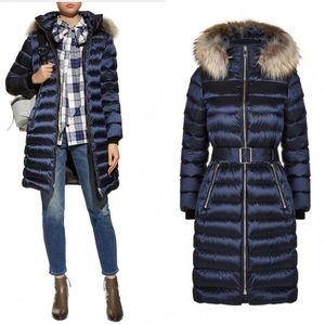 Womens Burberry Belted Down Puffer Coat Blue